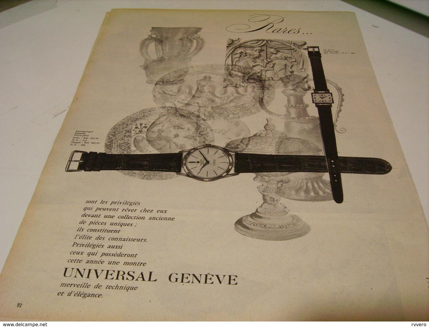 ANCIENNE PUBLICITE RARE  MONTRE UNIVERSAL GENEVE 1959 - Bijoux & Horlogerie