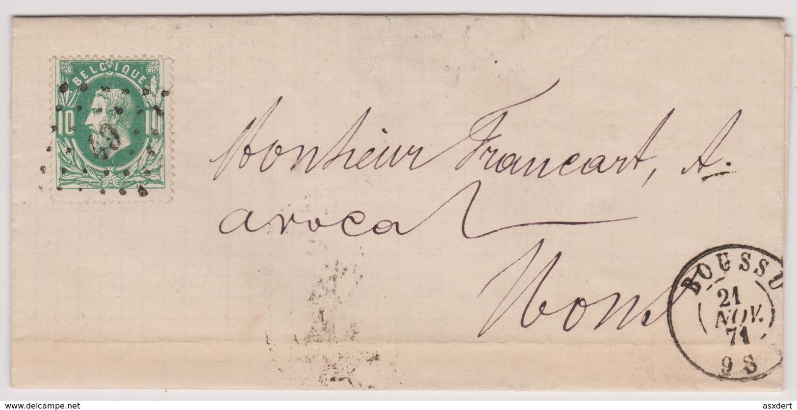 N° 30 LETTRE De 1871 BOUSSU Lp. 49  Vers MONS - 1869-1883 Léopold II