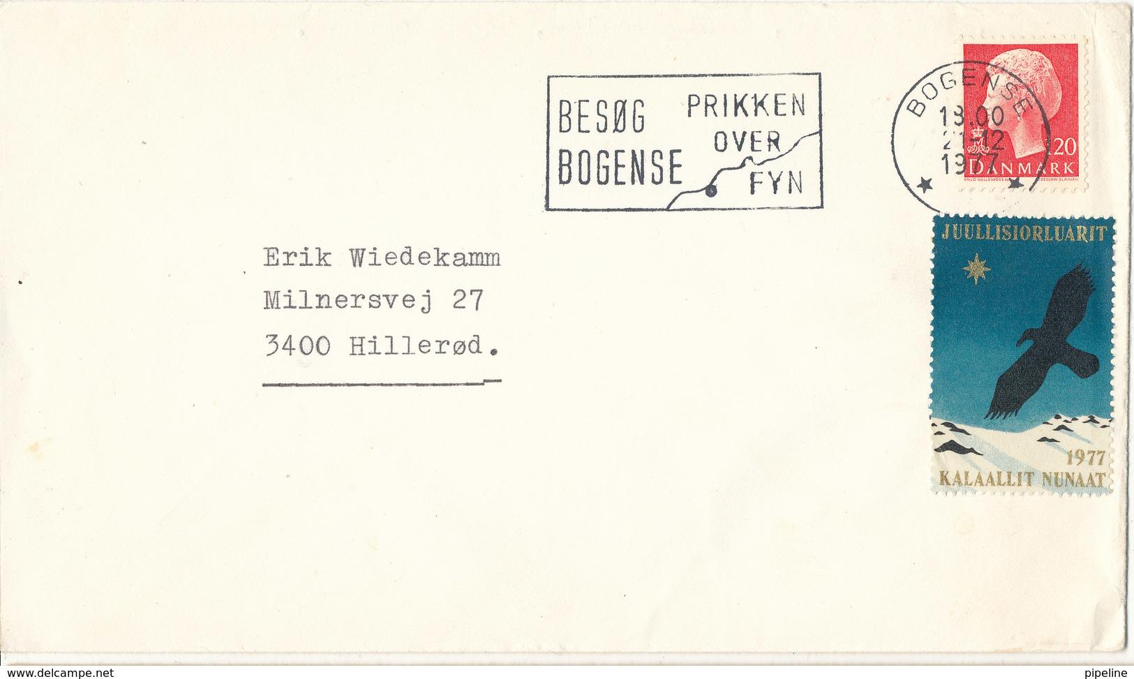 Denmark Cover Bogense 21-12-1977 Single Franked And A Greenland Christmas Seal - Denmark