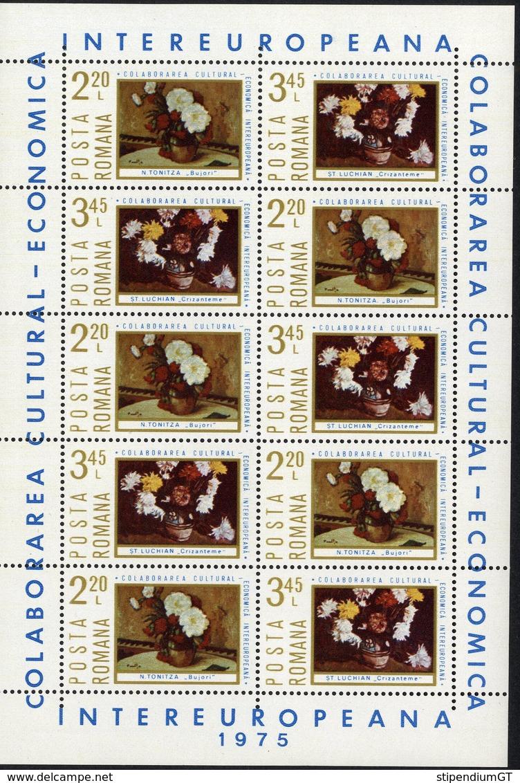 ROMANIA  1972 International Cultural Cultural Collaboration 3,45 LEI COLABORAREA CULTURAL ECONOMICĂ  Sheet, MNH, OG - Blocs-feuillets