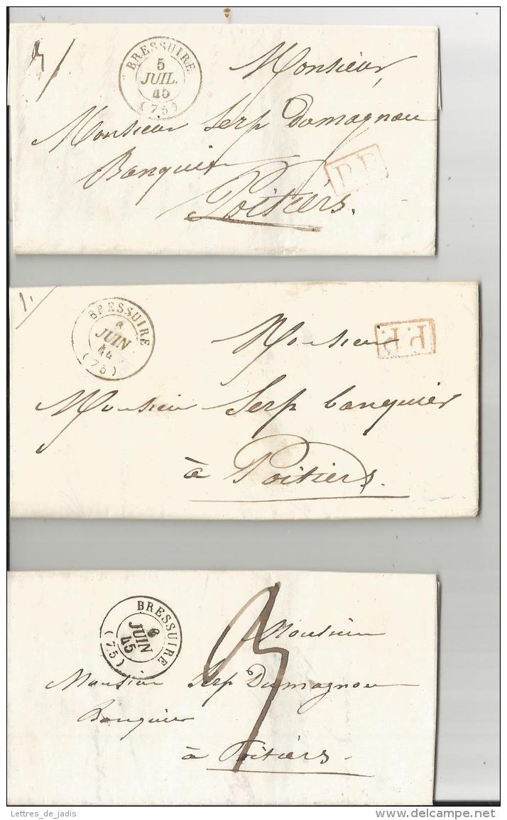3 Lac De BRESSUIRE Dont 2 En PP  1844 Et 1845  TTB - Marcophilie (Lettres)