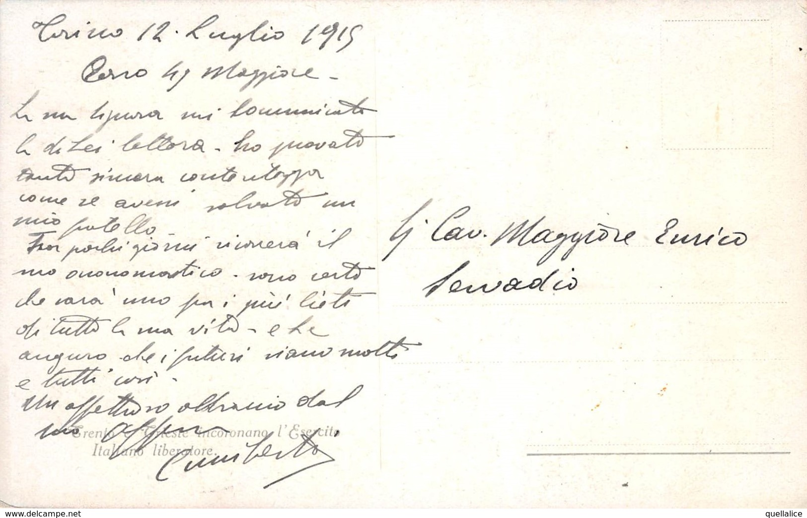 """0312 """"DIO RENDI L'ITALIA E GLI ITALIANI-TRENTO E TRIESTE INCORONANO L'ESERCITO ITALIANO LIBERATORE"""" G. C. CART SPED 1915 - Histoire"""