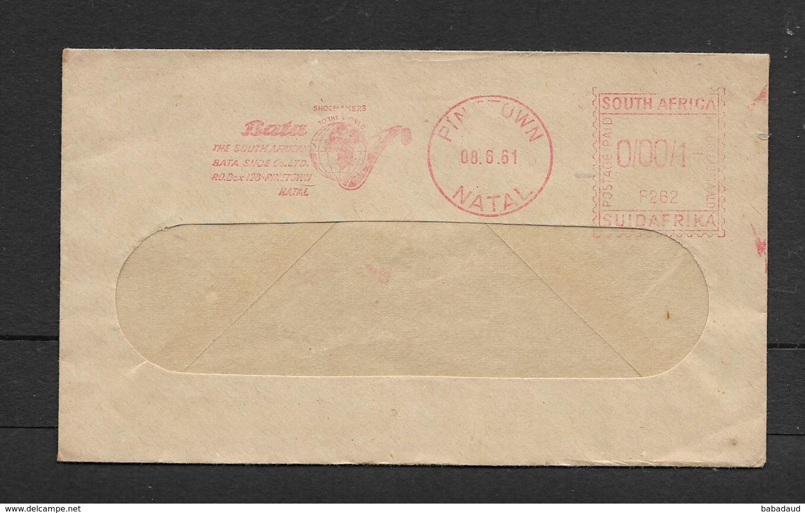 S.Africa,window Envelope, Bata Shoe Co., 1c Meter Frank PINETOWN NATAL 08.6.61 - South Africa (1961-...)