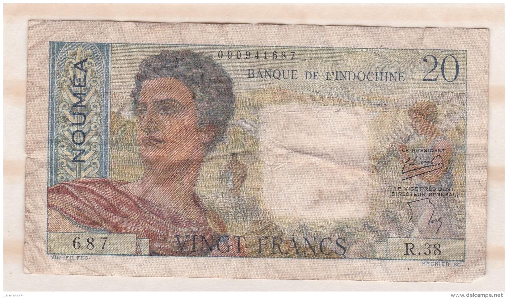 20 Francs NOUVELLE CALEDONIE - NOUMEA - Banque De L Indochine. Serie R.38 - Nouvelle-Calédonie 1873-1985
