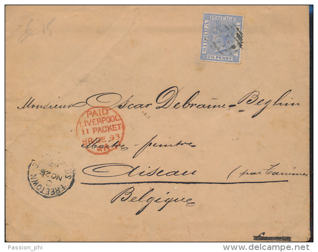 SIERRA LEONE COVER FROM FREETOWN 1893 TO AISEAU BELGIUM - Sierra Leone (...-1960)