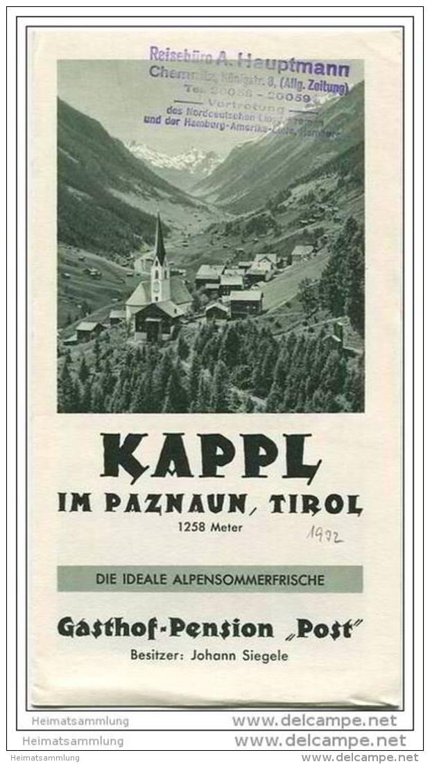 Kappl Im Paznaun Tirol 30er Jahre - Gasthof-Pension Post Besitzer Johann Siegele - Faltblatt Mit 11 Abbildungen - Oesterreich