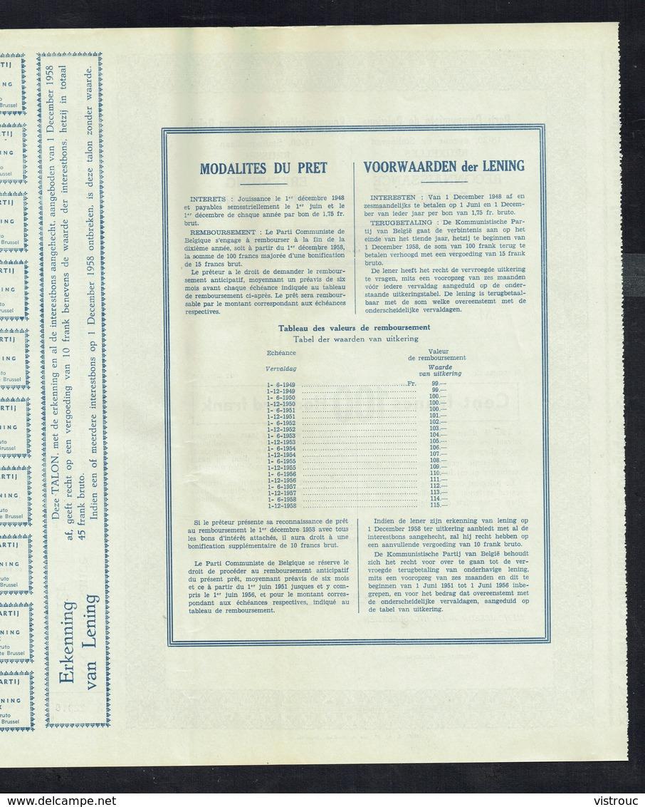 PARTI COMMUNISTE DE BELGIQUE - Reconnaissance De Prêt De 100,- Frs - 1948. - Asie