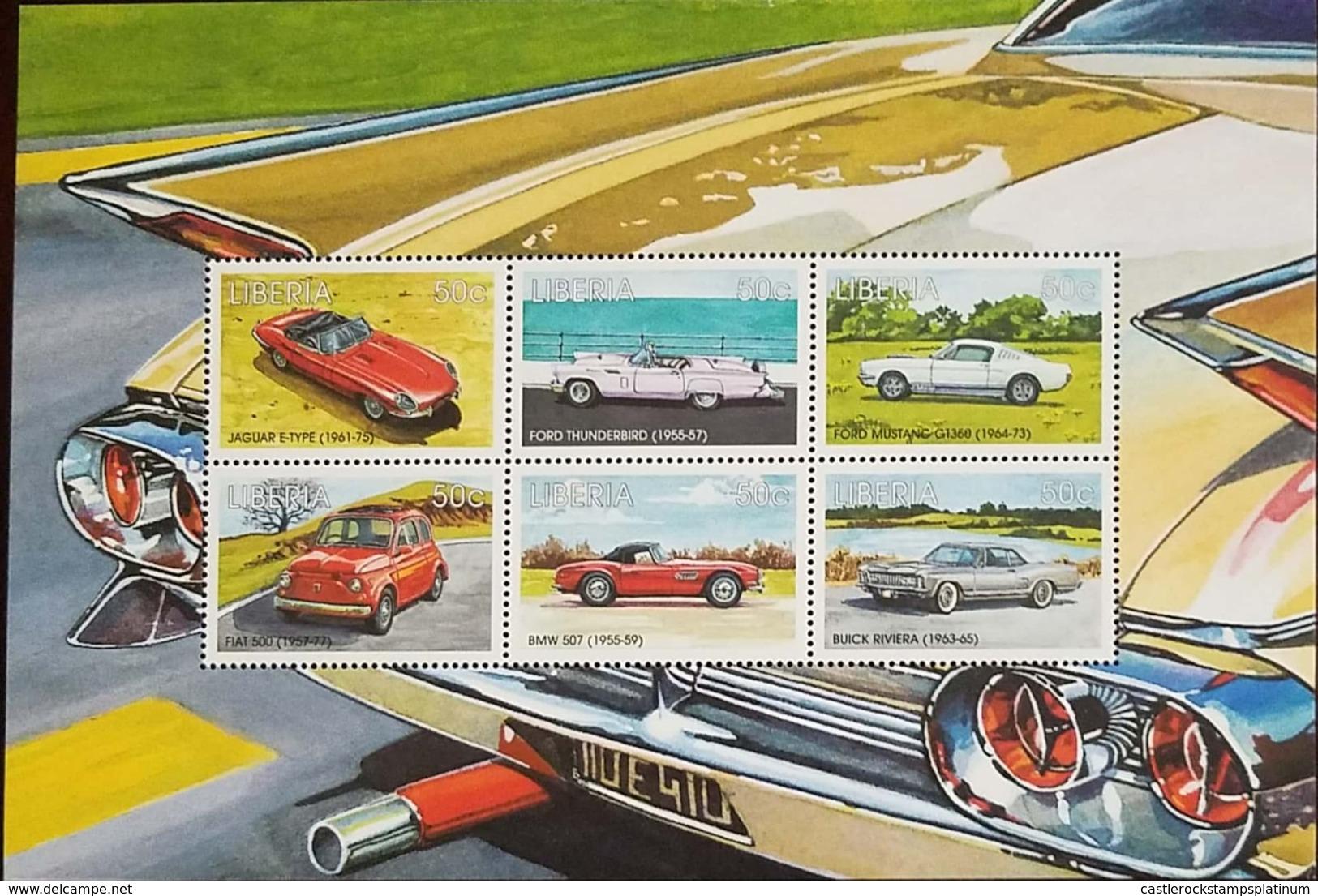 O) 2007 LIBERIA, OLD CARS - JAGUAR E-TYPE 1961 - FORD 1955 - FIAT 500 1957 - BMW 507, SOUVENIR MNH - Liberia