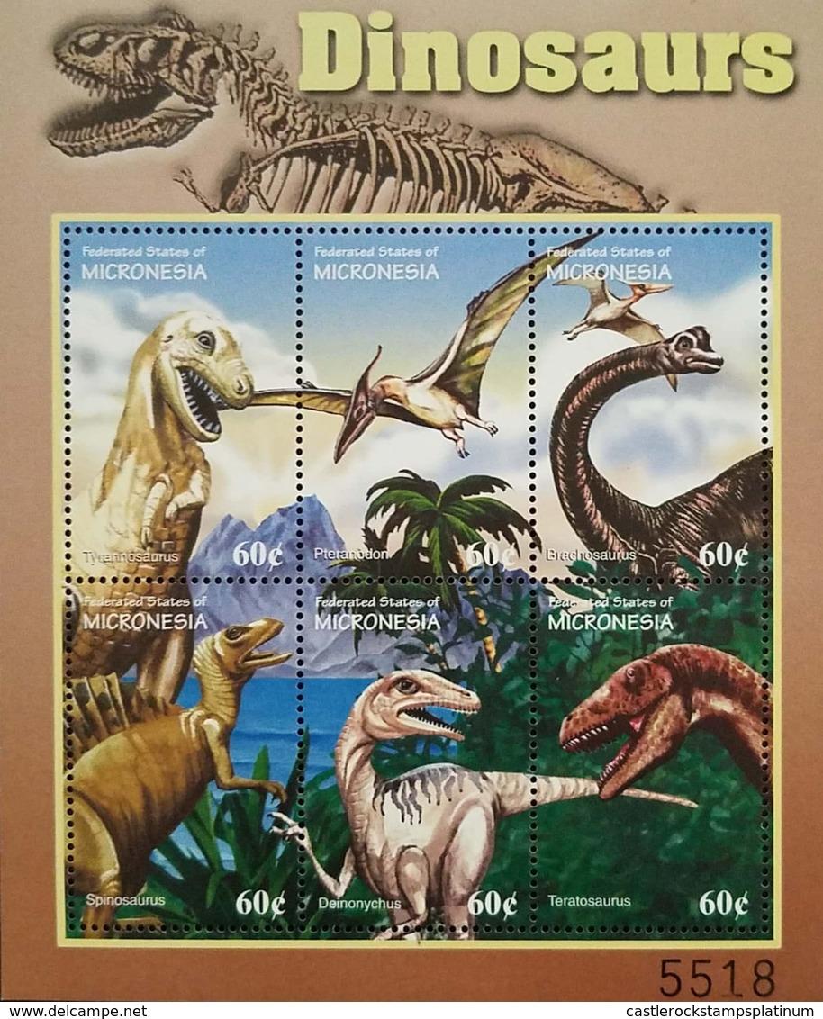 O) 2001 MICRONESIA, FOSSIL -PREHISTORIC ANIMALS-DINOSAURS -TYRANOSAURUS - PTERANODON - BRACHOSAURUS -SPINOSAURUS - DEINO - Micronesia