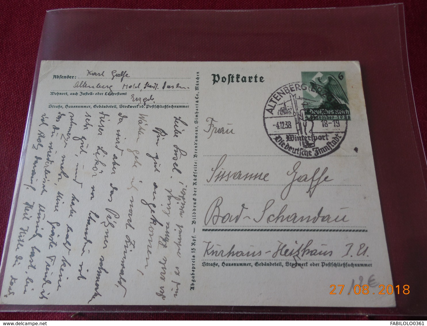 Carte Entier Postal De1938 Avec Illustration De Propagande - Deutschland