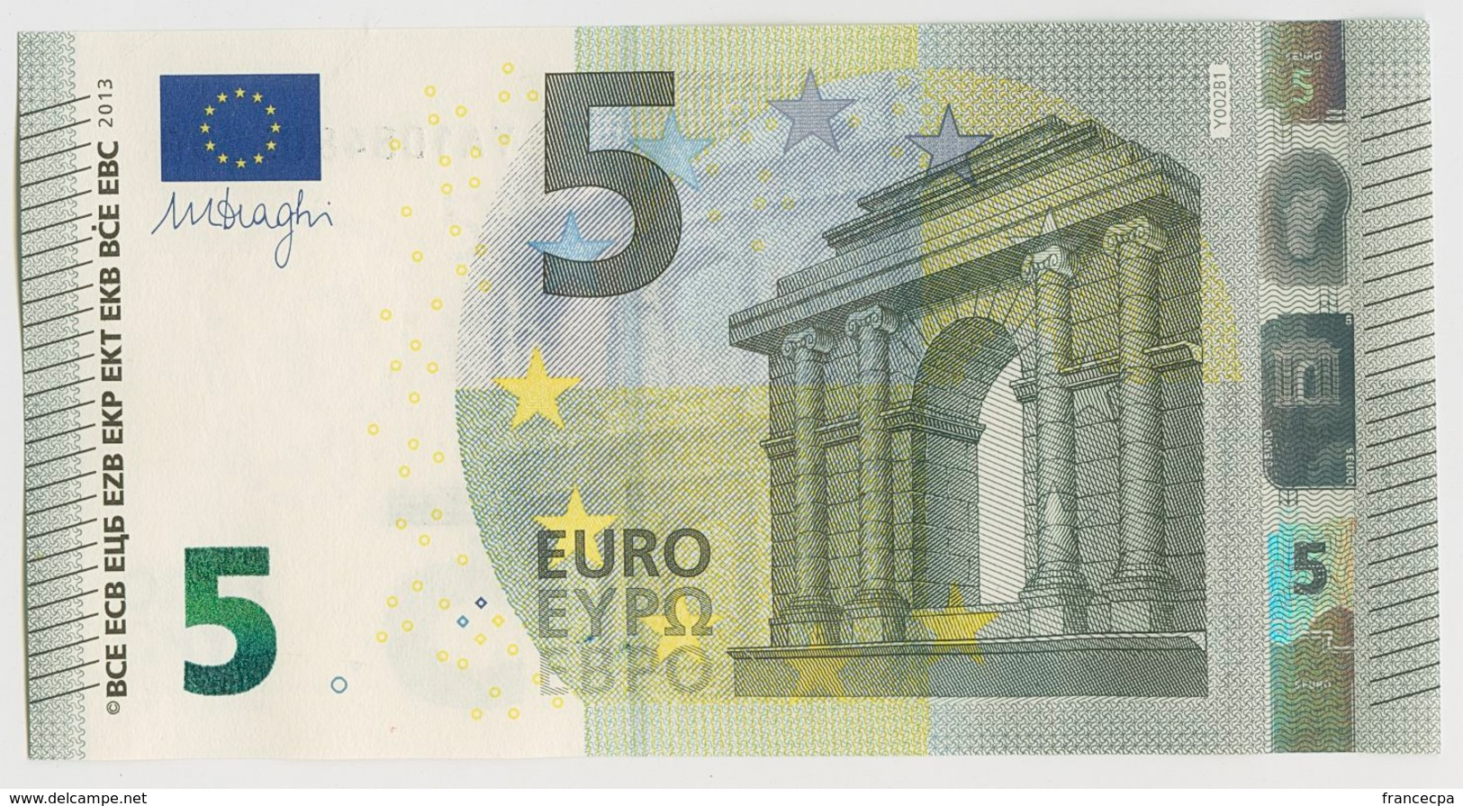 012 - BILLET 5 EURO 2013 NEUF Signature Mario DRAGHI YA 1084803236 - Imp Y002B1 - EURO