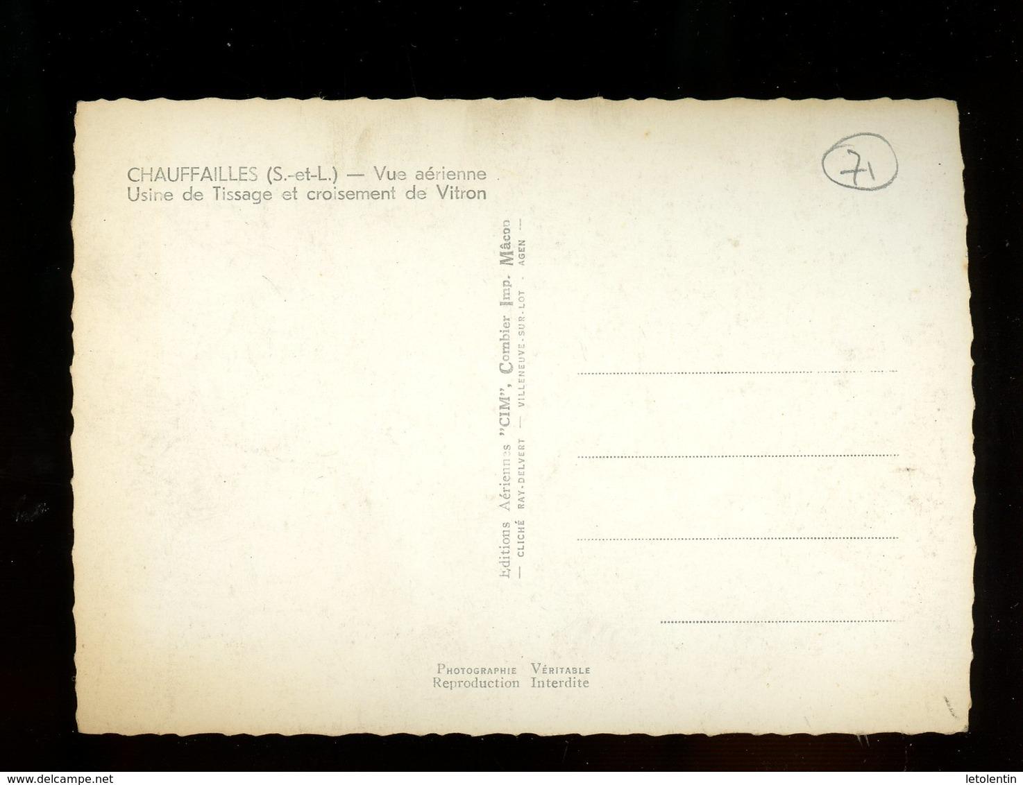 CPSM - 71 - CHAUFFAILLES - VUE AERIENNE , USINE DE TISSAGE ET CROISEMENT DE VITRON - France