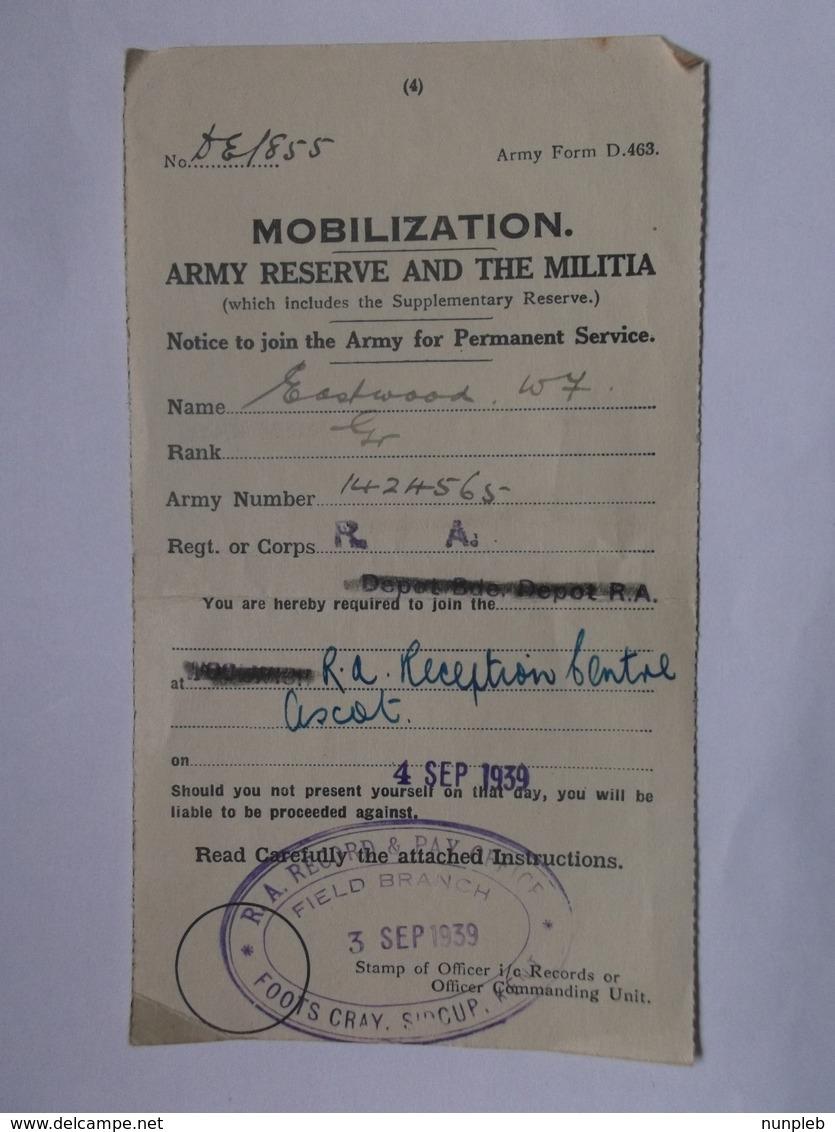 GB WW2 Mobilization Form D.463 - Sidcup Kent Cachet 4/9/1939 - 2 Scans - Historische Dokumente
