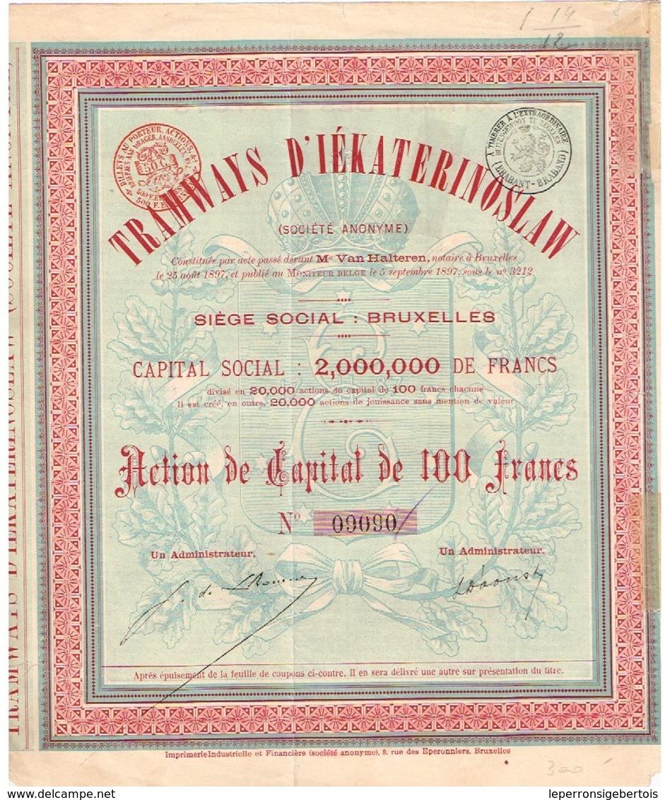 Action Ancienne - Tramways D' Iekaterinoslaw - Titre De 1897 - N° 09090 - Chemin De Fer & Tramway