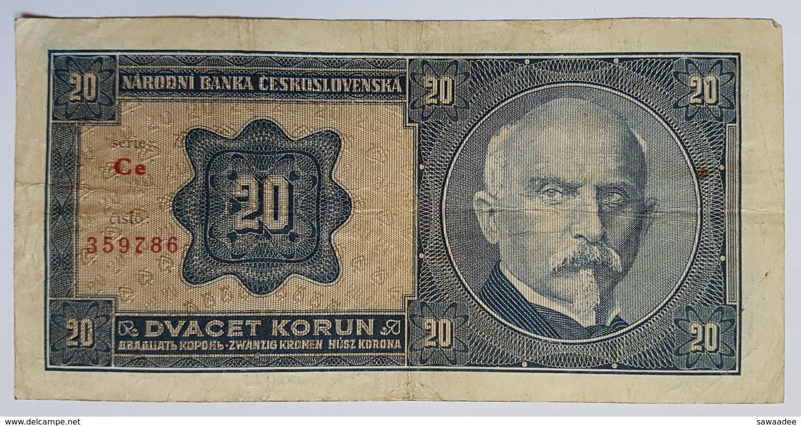 BILLET TCHECOSLOVAQUIE - P.21a - 20 KORUN - 1926 - PORTRAIT DU GENERAL STEFANIK - ARMOIRIE - Tchécoslovaquie