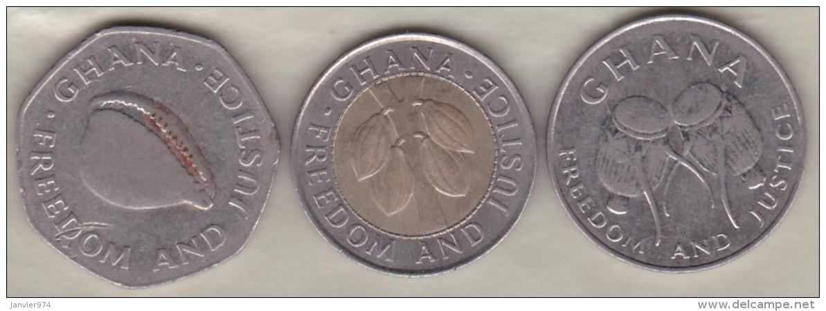 Ghana , 3 Pièces : 50 Cedis 1999 , 100 Cedis 1999 , 200 Cedis 1998 - Ghana