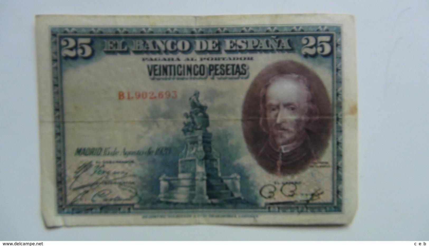 Billete 25 Pesetas. 1928. España. Calderón De La Barca - 1-2-5-25 Pesetas