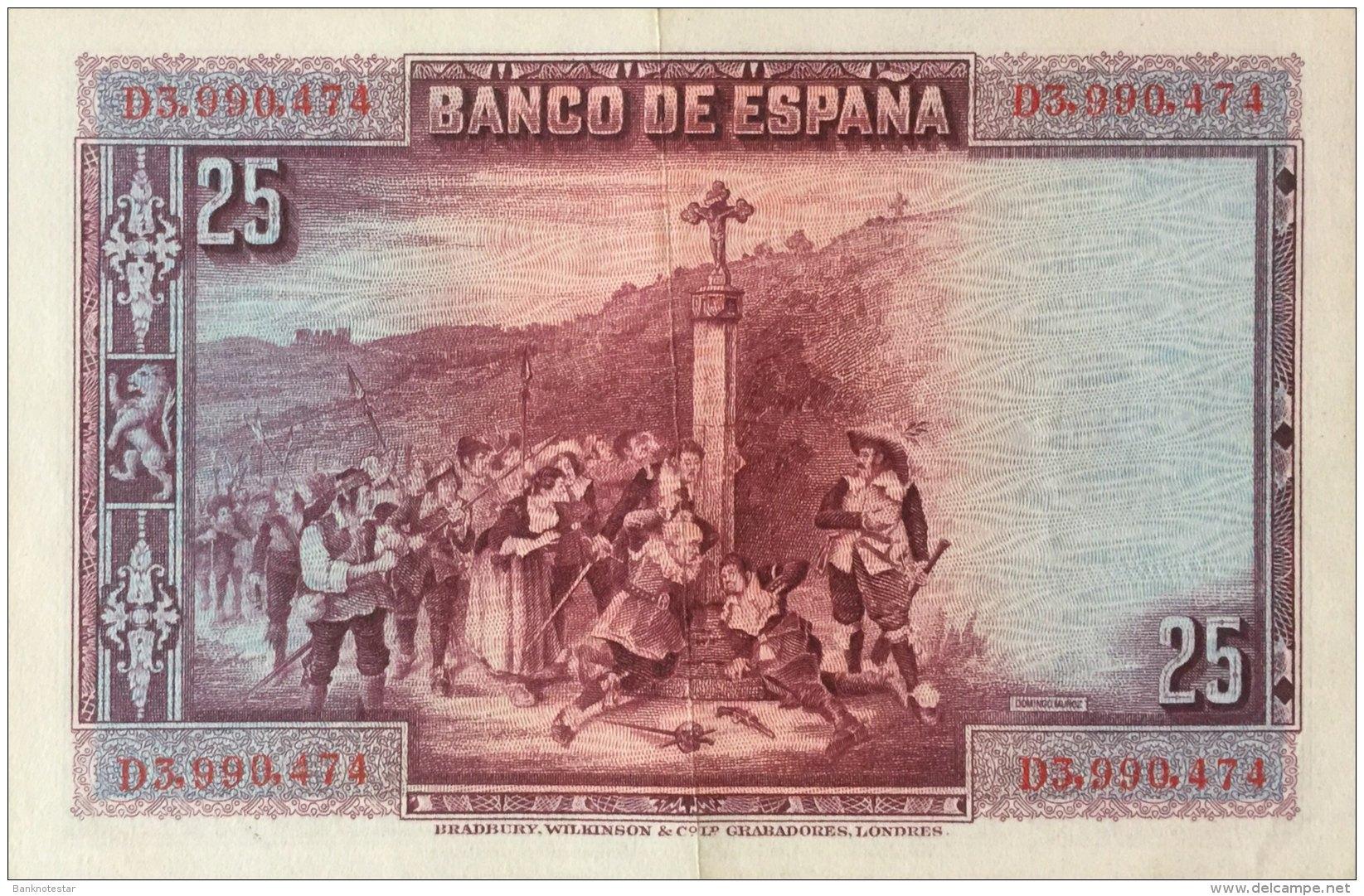 Spain 25 Pesetas, P-74b (15.8.1928) - EF/XF - [ 1] …-1931 : Eerste Biljeten (Banco De España)