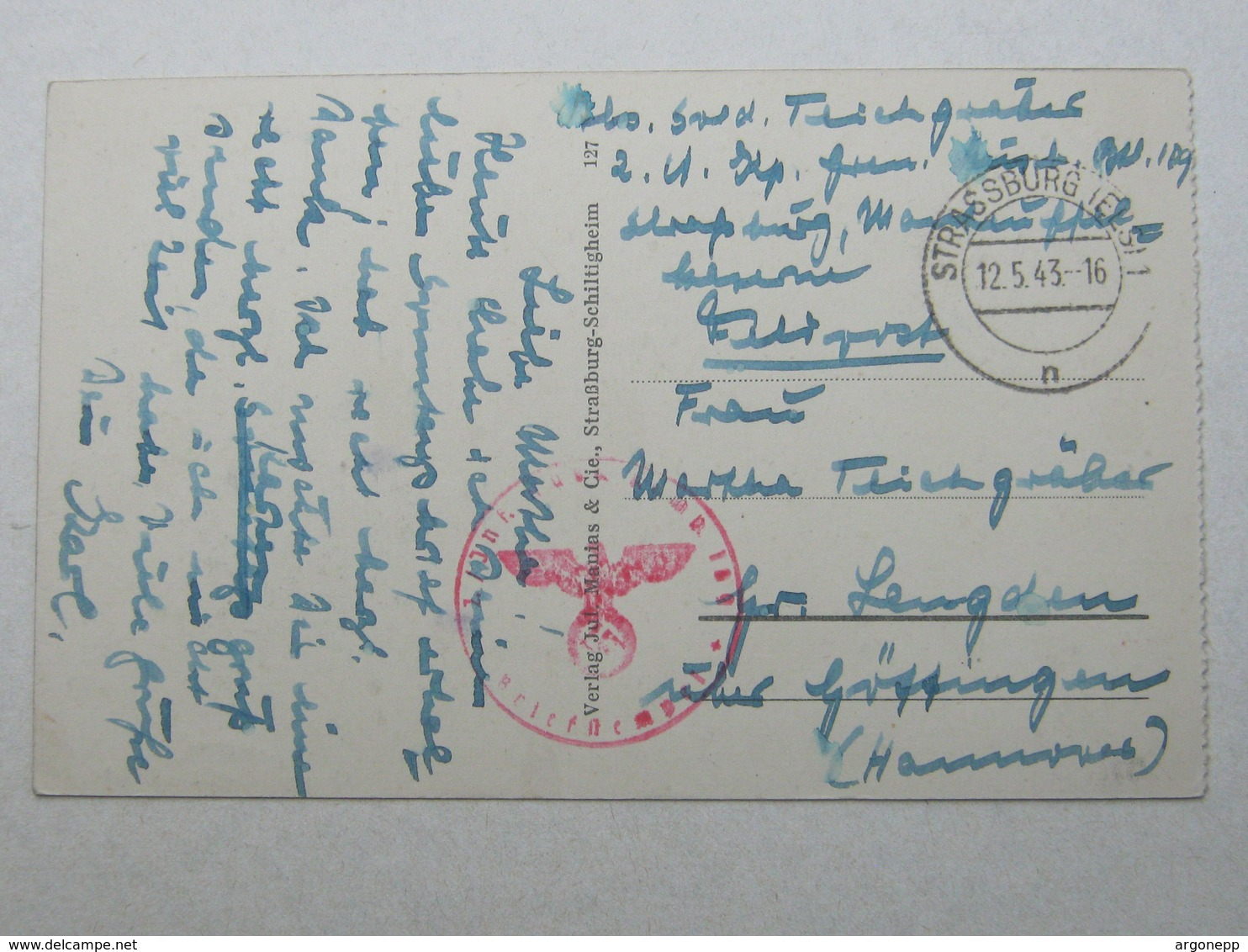 1943 ,  Carte Militaire A Strassburg - Postmark Collection (Covers)