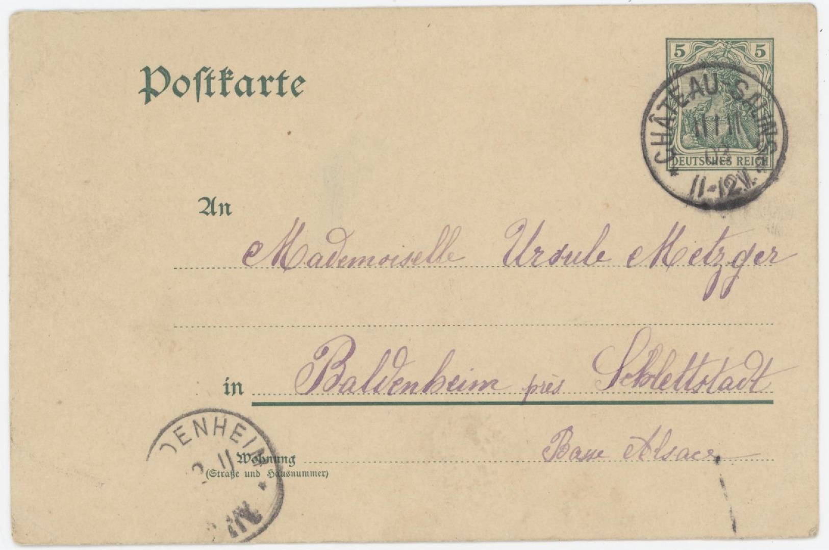 Entier Château- Salins 11.11.1903 Pour Baldenheim - Entiers Postaux