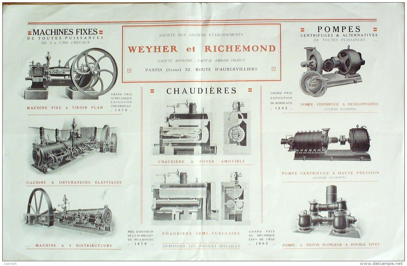 CATALOGUE- 46-MACHINES POMPES WEYHER & RICHEMOND-PANTIN-1916 - Pubblicitari