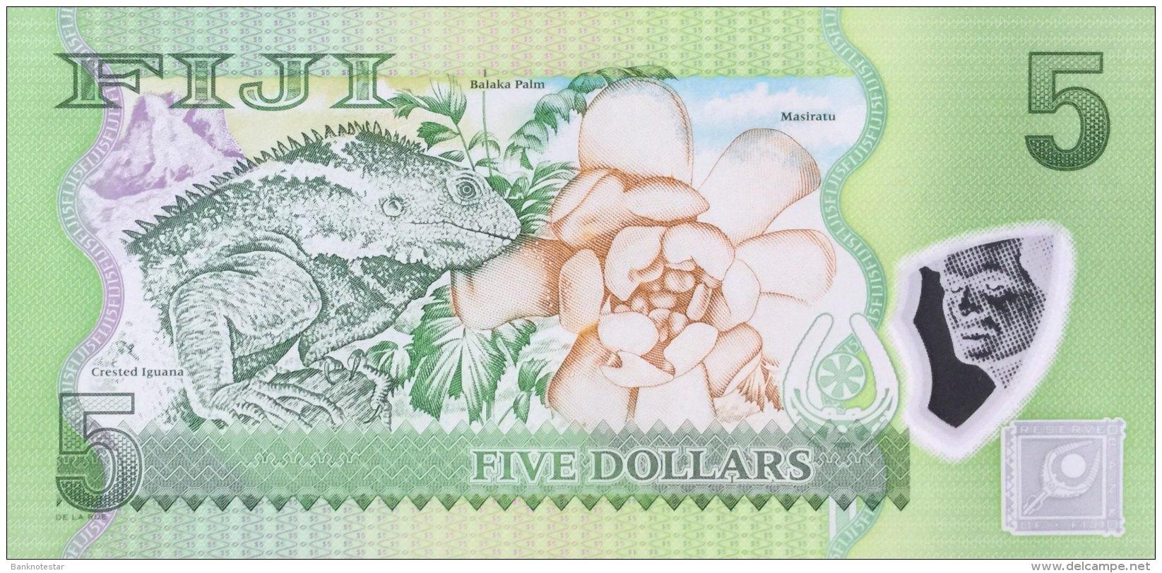 Fiji 5 Dollars, P-115aR (2013) -  Replacement Note - UNC - Fidji