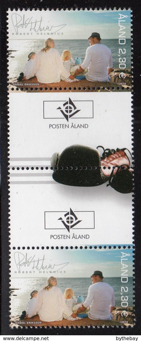 Aland 2014 MNH My Aland Robert Helenius Gutter Pair With Emblem - Aland