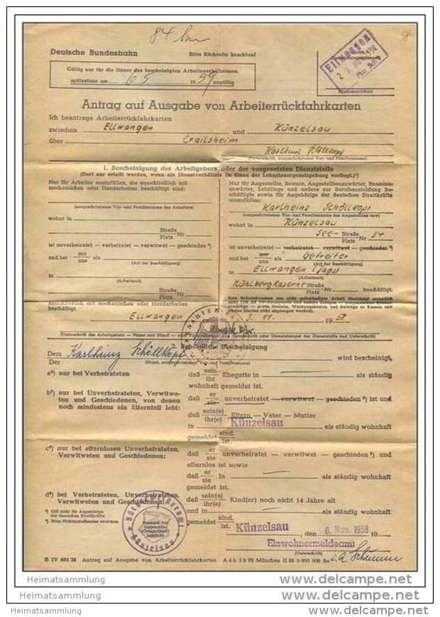 Antrag Auf Ausgabe Von Arbeiterrückfahrkarten 1958 Zwischen Ellwangen Und Künzelsau - DinA4 Blatt Gefaltet - Transporttickets