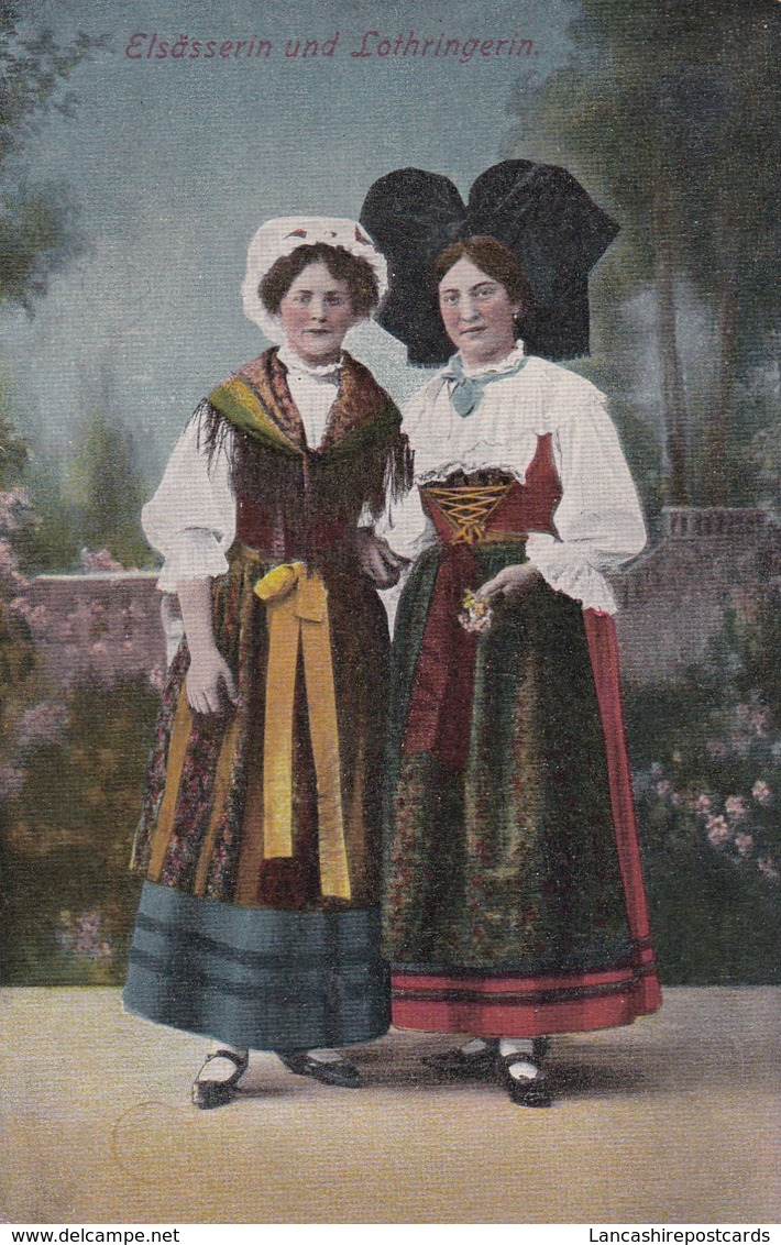 Postcard Elsasserin Und Lothringerin Folklore Costume My Ref  B12416 - Costumes