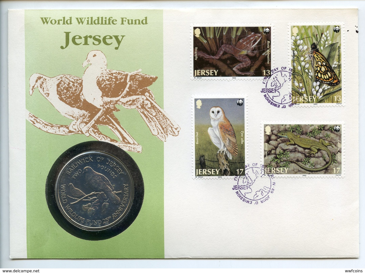 POSTCARD STAMP BUSTA FRANCOBOLLO JERSEY 1 POUND 1987 ENDANGERED WORLD WILDLIFE FOUND BUTTERFLY FROG OWL FIRST DAY OF ISS - Guernesey