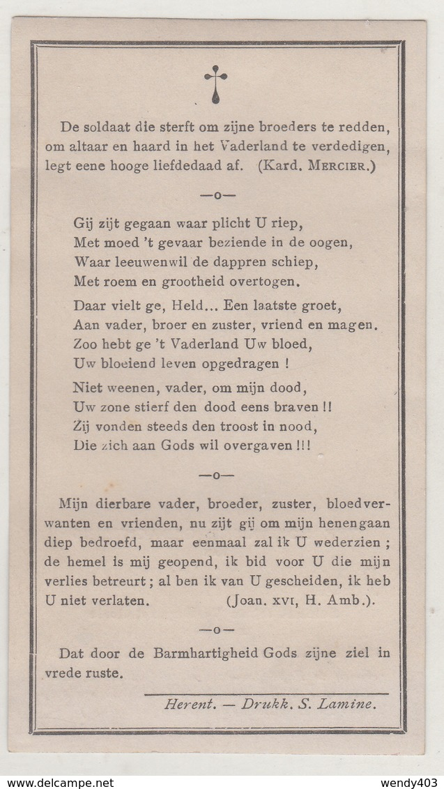 Petrus Degreef - Gesneuveld Fort Loncin - Luik 1914 - Geboren Te Erps-Kwerps - Images Religieuses