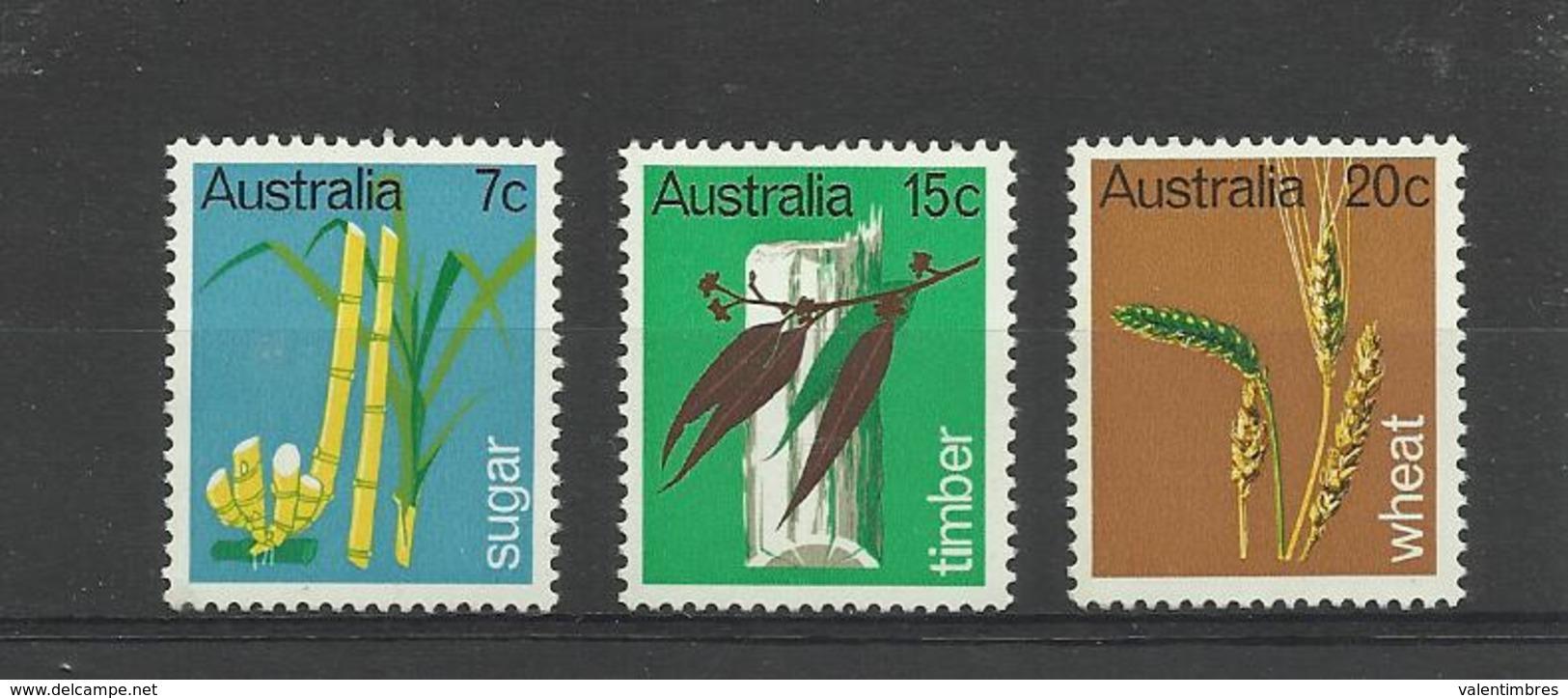 Plantes Canne à Sucre Blé Eucalyptus   Australie  YT 388/90* - Other
