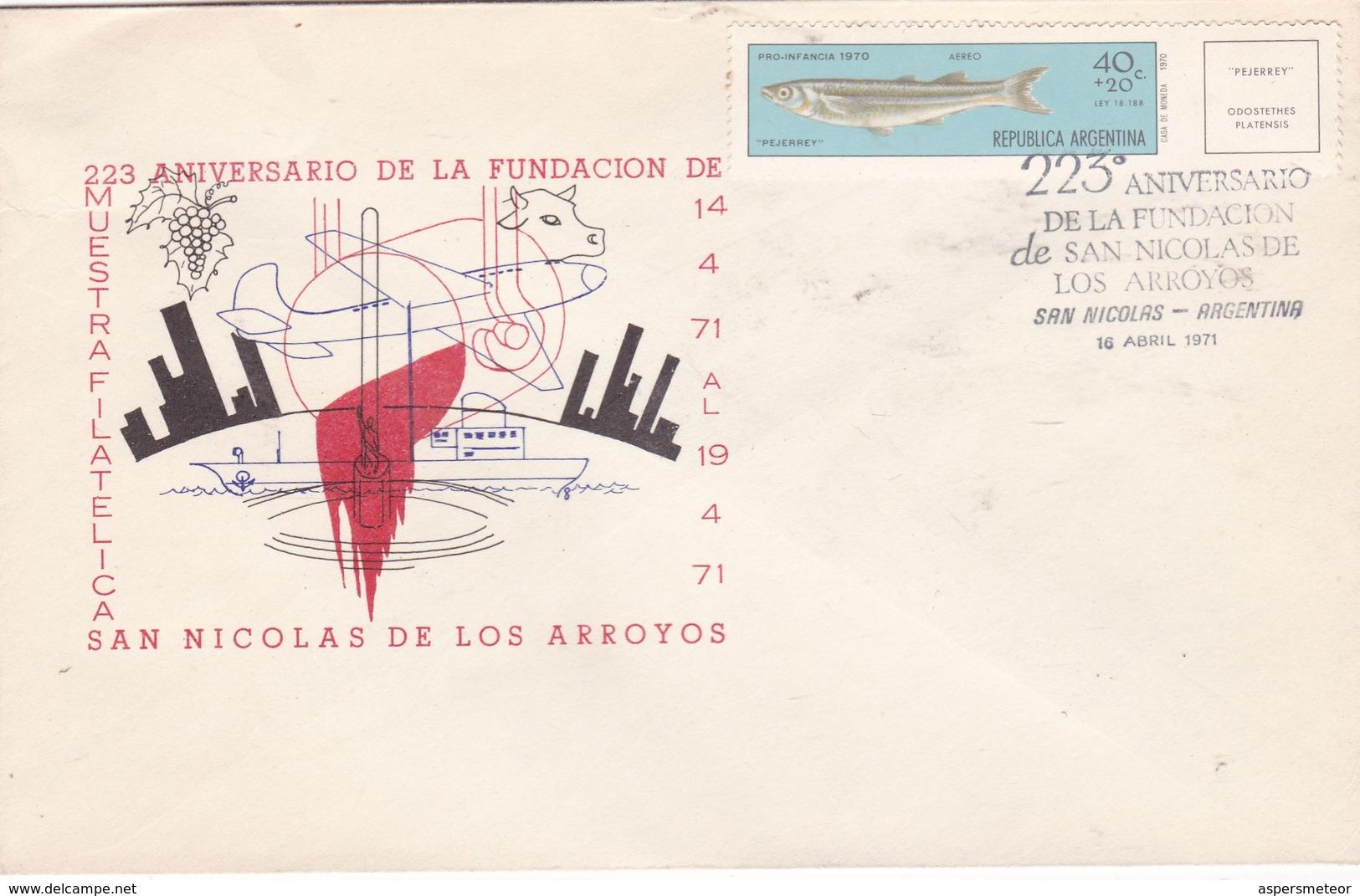 223 ANIVERSARIO FUNDACION DE SAN NICOLAS DE LOS ARROYOS AÑO 1971. SPECIAL COVER - BLEUP - Argentina