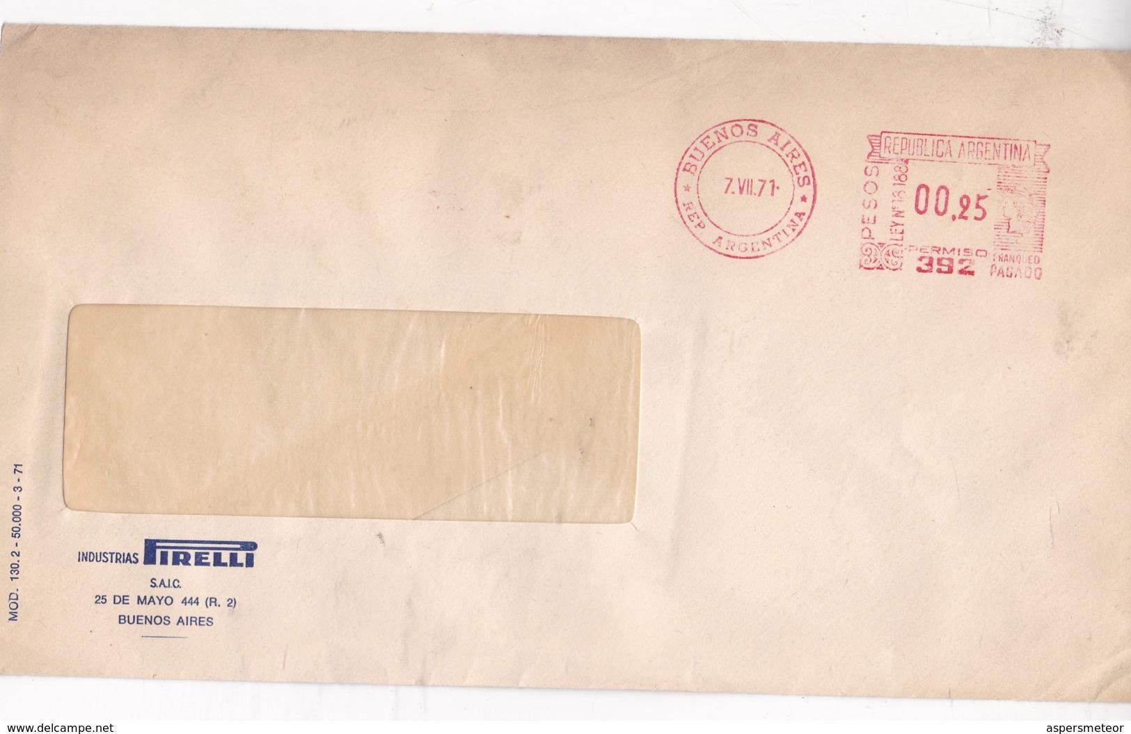 INDUSTRIAS PIRELLI COMMERCIAL ENVELOPE AFFRANCHISSEMENT MECANIQUE BUENOS AIRES YEAR 1971 - BLEUP - Storia Postale