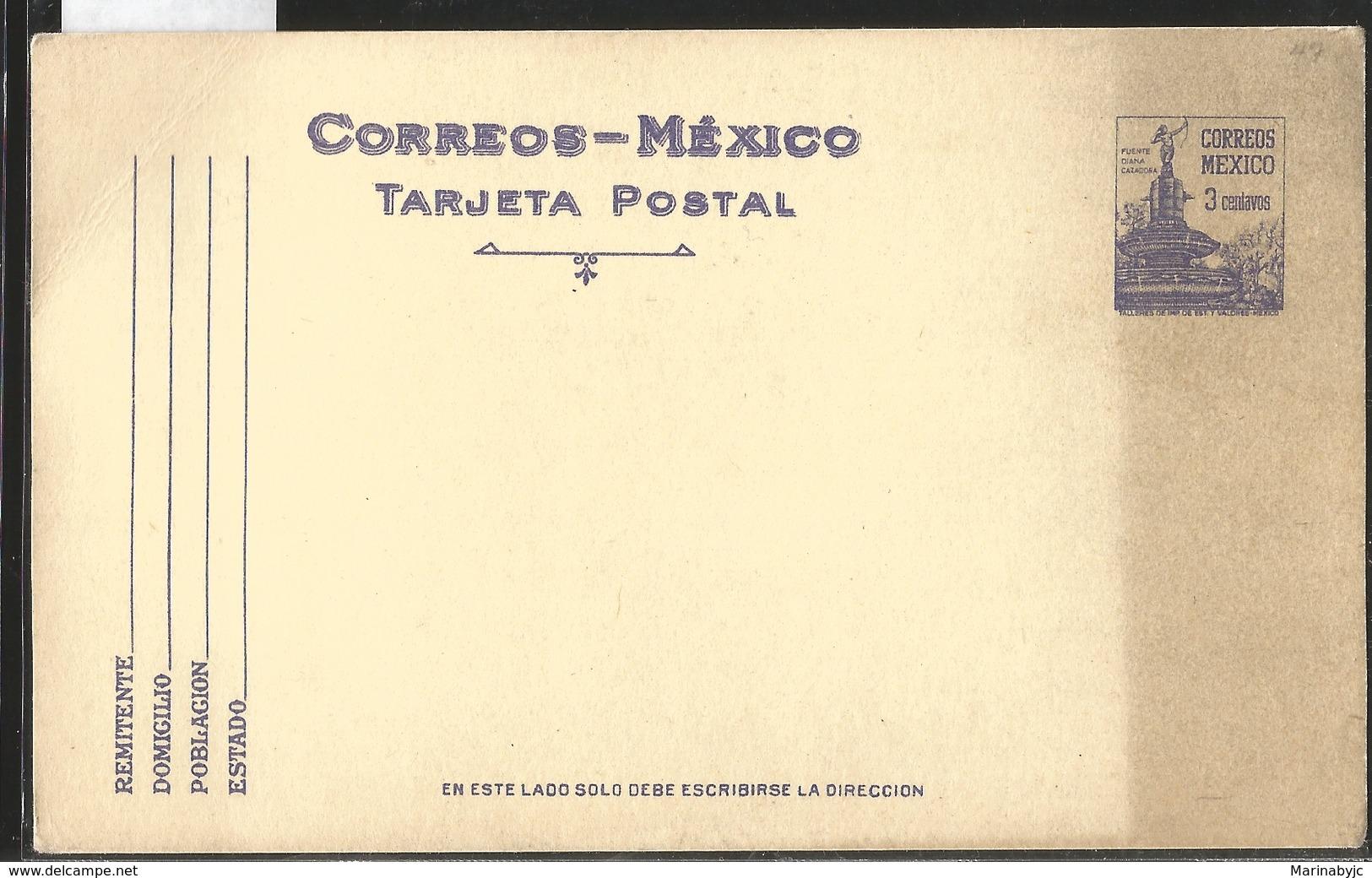 J) 1945 MEXICO, FOUNTAIN OF DIANA, THE HUNTER, PURPLE, POSTAL STATIONARY - Mexico