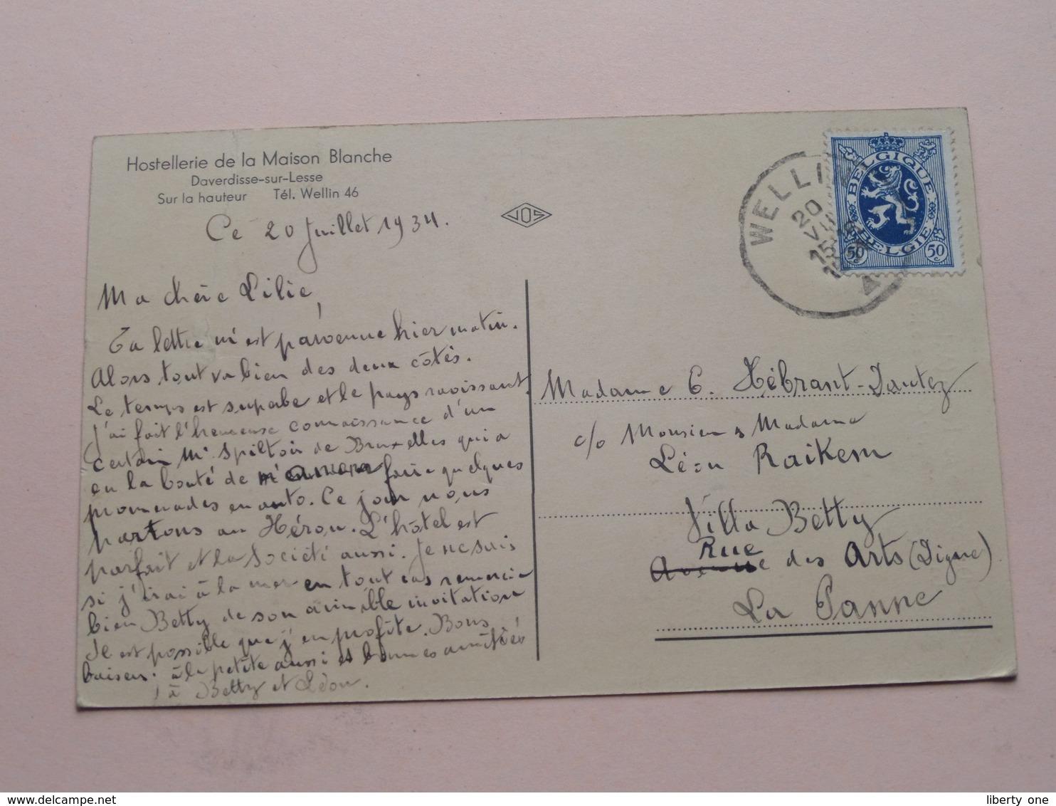DAVERDISSE Sur Lesse (Ardenne) La Lesse Pitto..... ( JOS ) Hostellerie De La Maison Blanche / Anno 1934 ( Voir Photo ) ! - Daverdisse