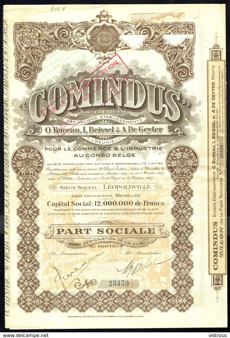 """""""COMINDUS"""", Pour Le Commerce Et L'industrie Au Congo Belge - Part Sociale - 1927. - Asie"""