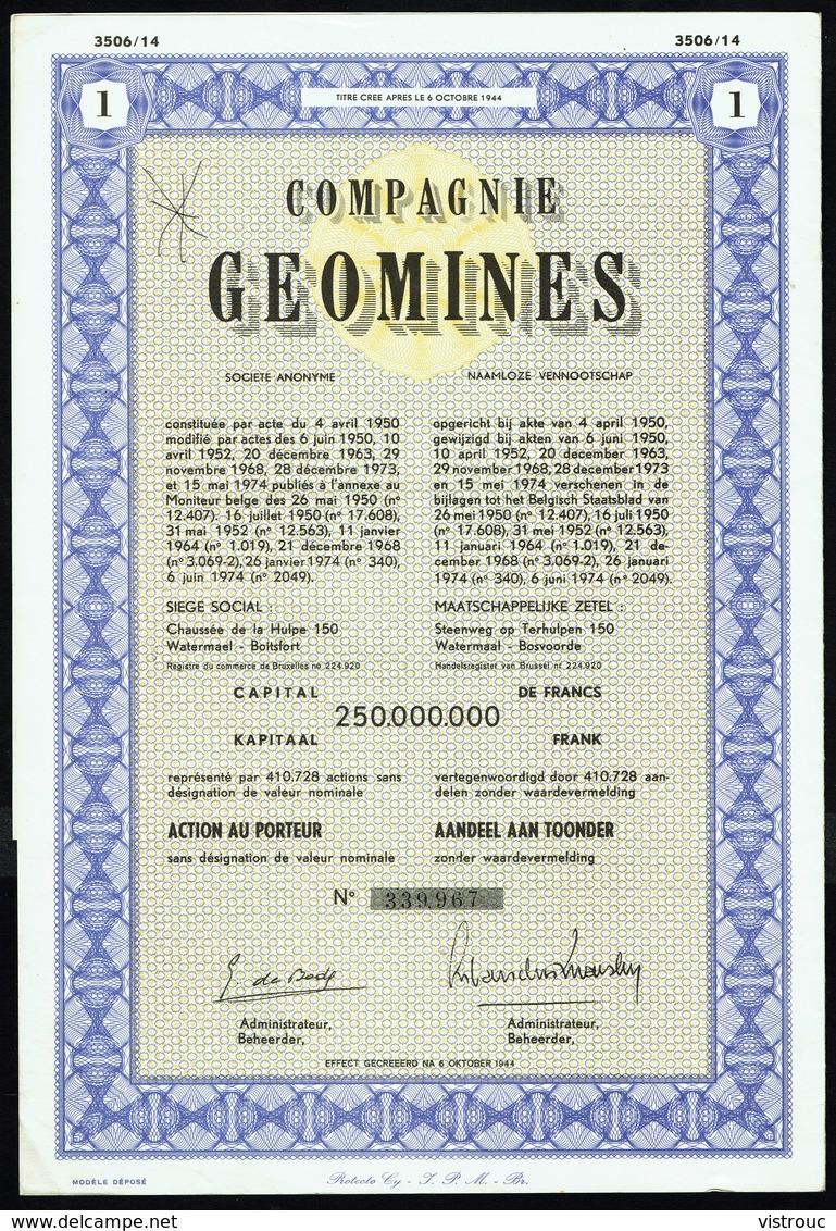 COMPAGNIE GEOMINES S.A. - Action Au Porteur - 1974. - Asie
