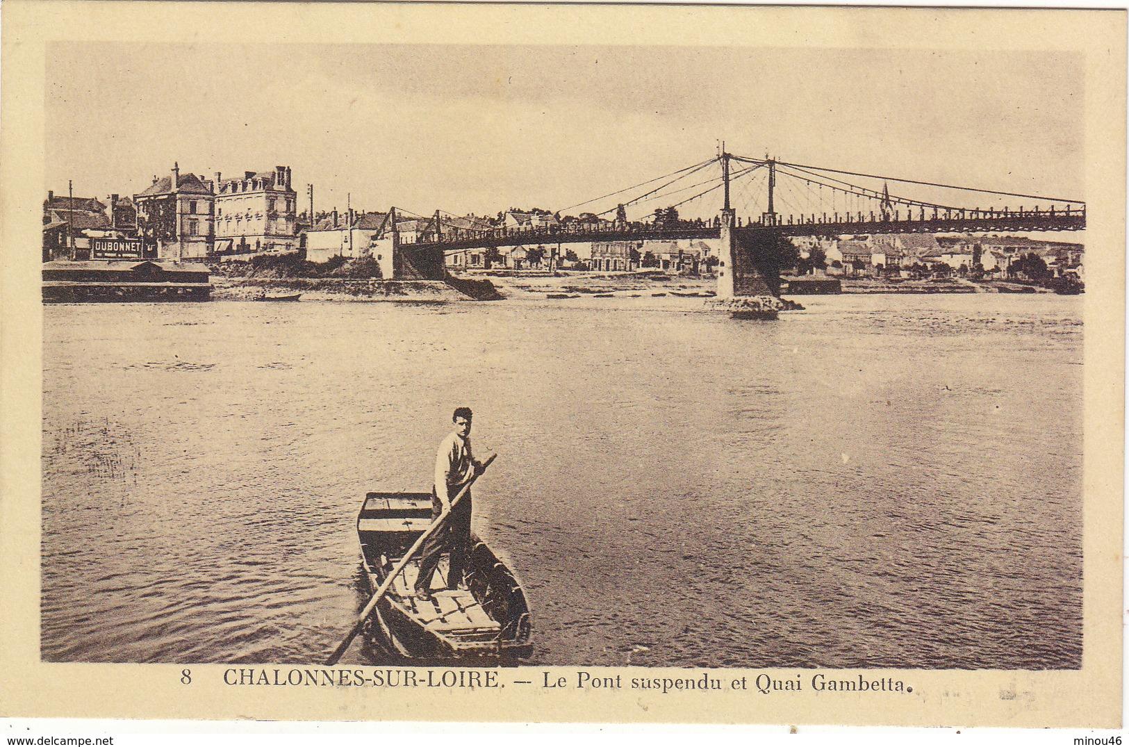 CHALONNES SUR LOIRE : LE QUAI GAMBETTA.ET LE PONT SUSPENDU.ANIMEE.N.CIRCULEE.T.B.ETAT.PETIT PRIX.COMPAREZ!!! - Chalonnes Sur Loire