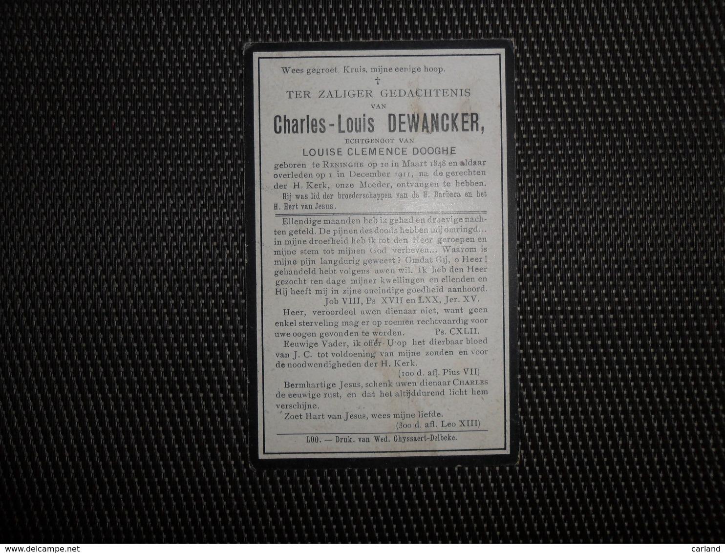 Doodsprentje ( C 857 ) Dewancker / Dooghe  -   Reninghe - Reninge   1911 - Décès