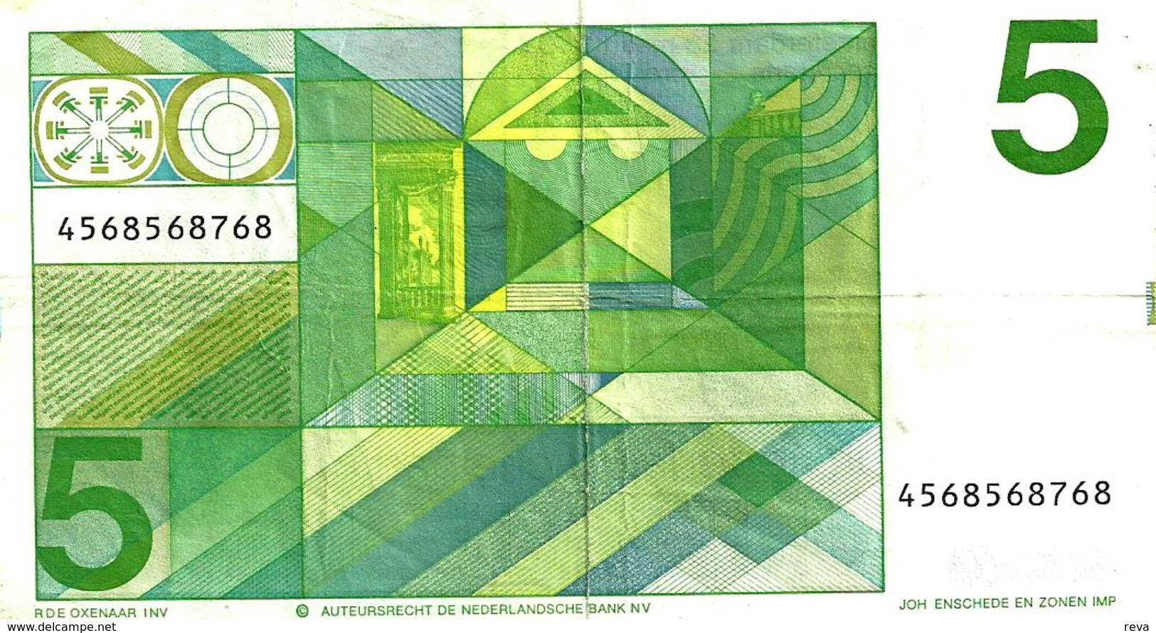 NETHERLANDS 5 GULDEN GREEN MAN  FRONT&MOTIF BACK 28-03-1973 P95a READ DESCRIPTION!! - 5 Florín Holandés (gulden)