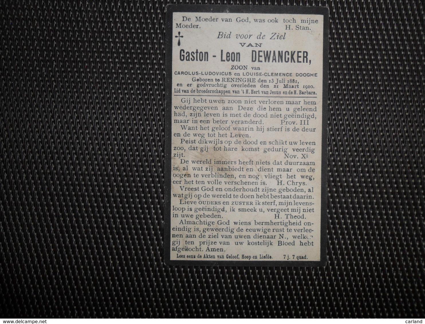 Doodsprentje ( C 861 )  Dewancker / Dooghe  -   Reninghe - Reninge   1910 - Obituary Notices