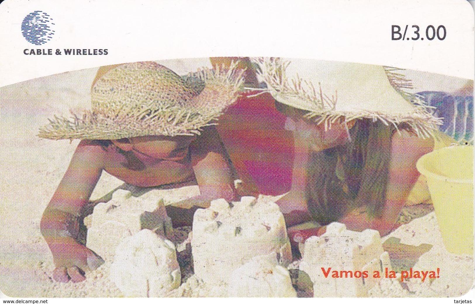 TARJETA DE PANAMA DE CABLE & WIRELESS DE B/3.00 NIÑOS EN LA PLAYA - Panamá