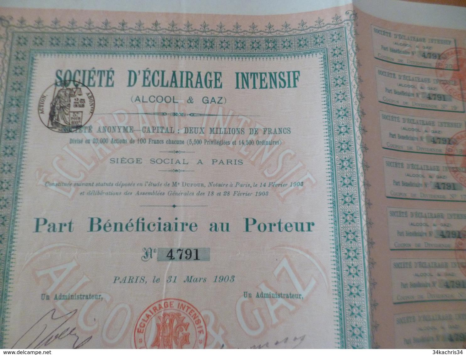 Action Part Bénéficiaire Au Porteur Société D'éclairage Intensif Alcool Et Gaz - Electricité & Gaz