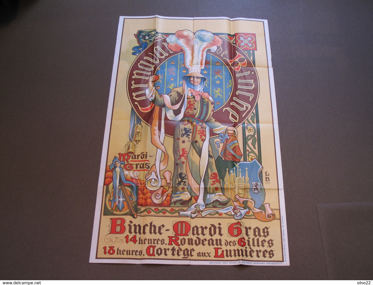 CARNAVAL DE BINCHE - AFFICHE DE LOUIS BUISSERET GRAPHISME DE 1910 - Ed. EST-OUEST RUE ST BERNARD BRUXELLES - Affiches