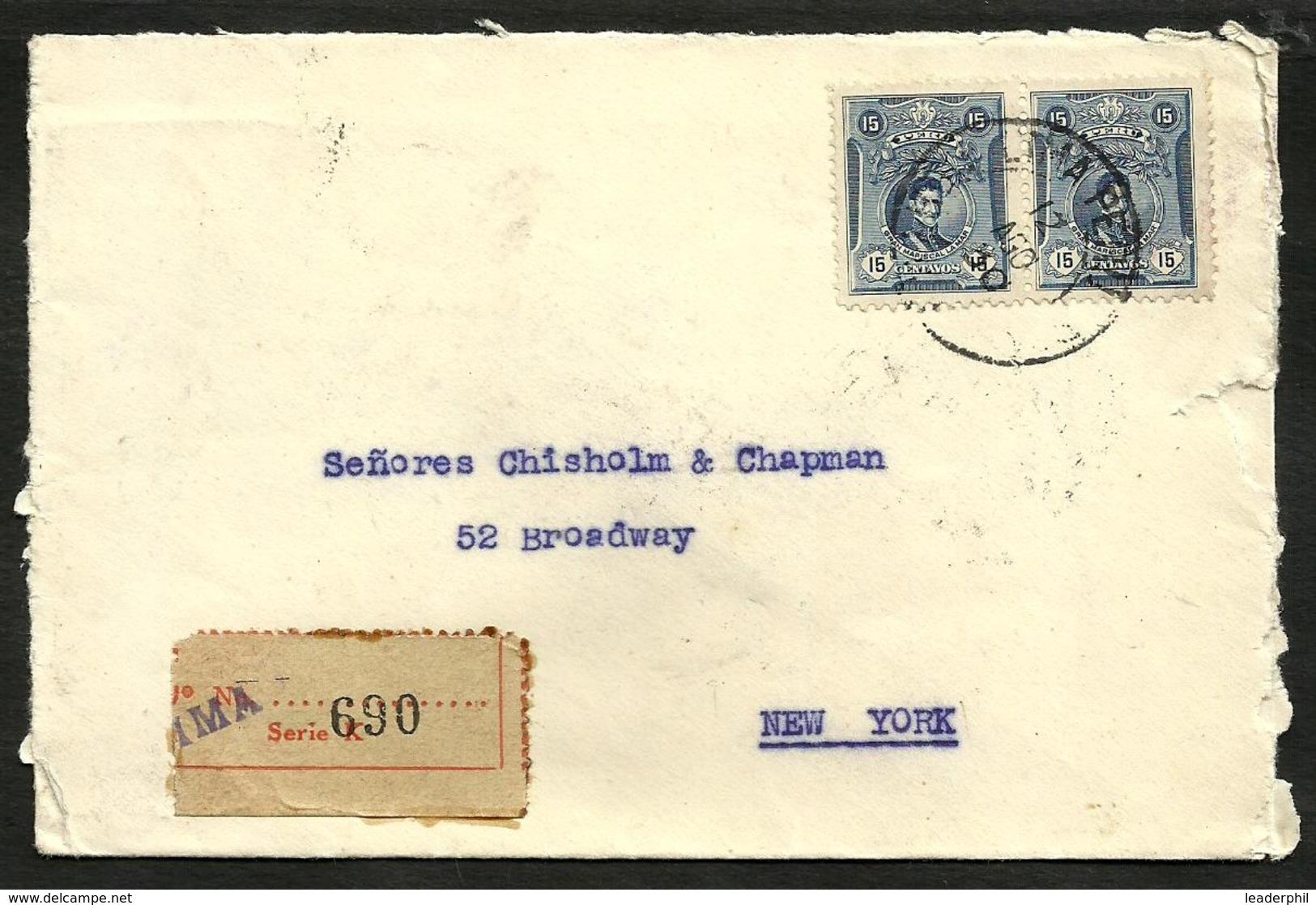PERU, 1930 REGISTERED COVER TO USA, LIMA CANCEL, NICE ! - Peru