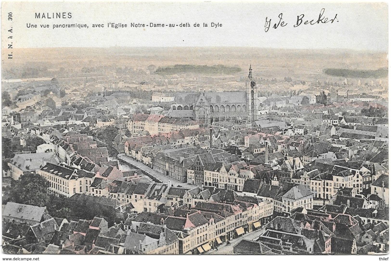 Malines NA47: Une Vue Panoramique Avec L'Eglise Notre-Dame Au Delà De La Dyle 1905 - Malines
