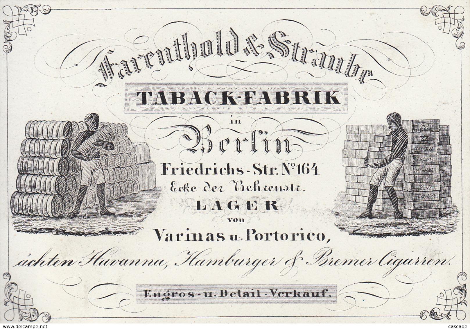 Porzellankarte / Geschäftskarte /  Werbungskarte Von Farenthold & Straube Taback-Fabrik In Berlin, (keine Postkarte) - Mitte
