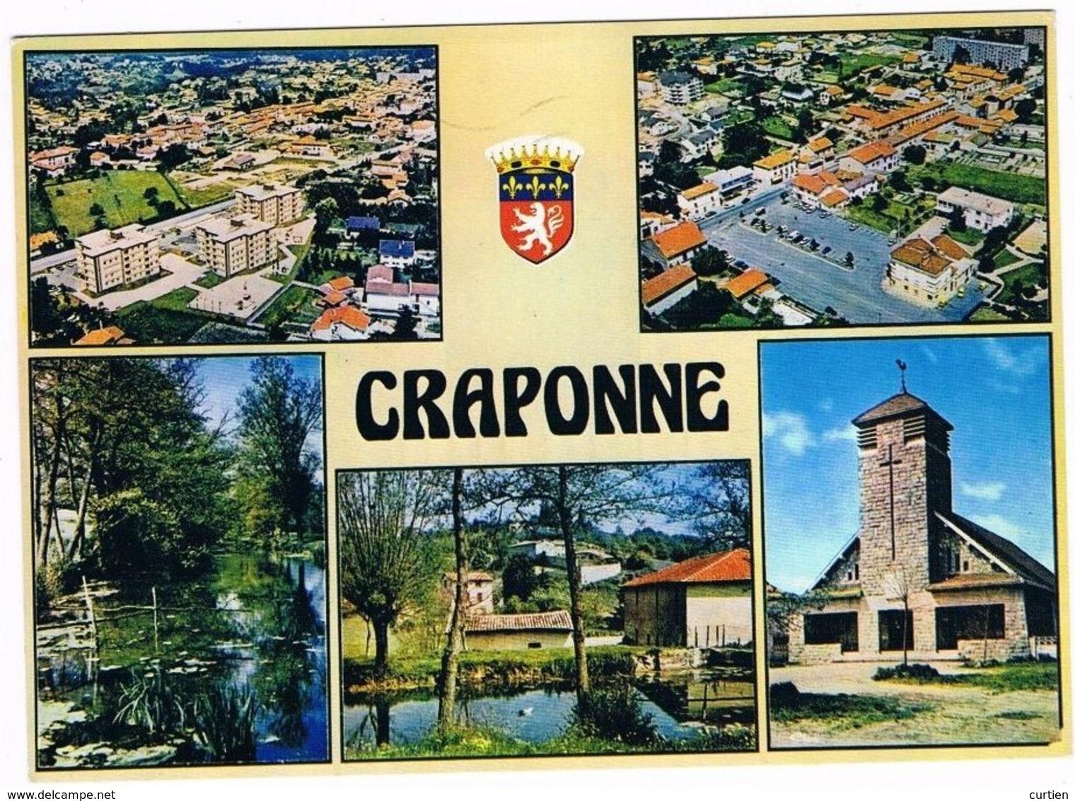 CRAPONNE . 69 . Multivue Avec 5 Photos Et Blason .1985 - France