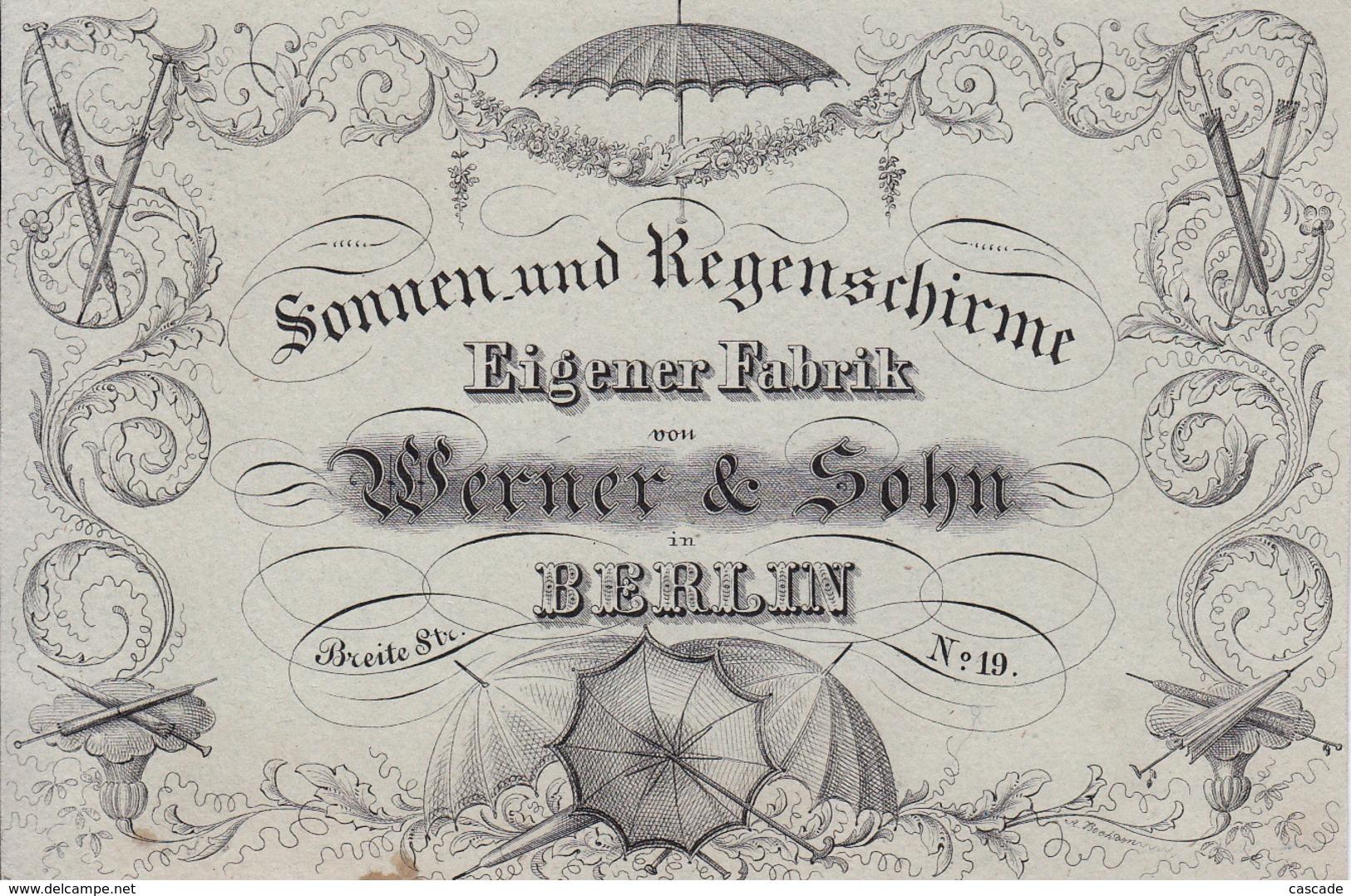 Berlin Carte Porcelaine / Porseleinkaart / Porzellankarte / Geschäftskarte /  Werbungskarte Sonnen- Und Regenschirmen - Mitte